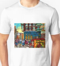 HAPPY WINTER DAY IN THE CITY RUE ST. VIATEUR MONTREAL CANADIAN ART  Unisex T-Shirt