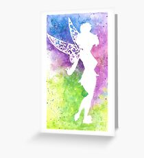 tink multi coloured silhouette  Greeting Card