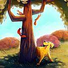 Dog & Squirrels by Freddie Elsom