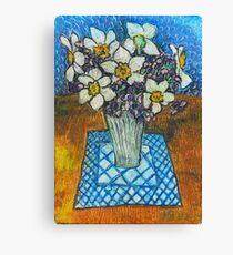 Daffodils oil pastel Canvas Print