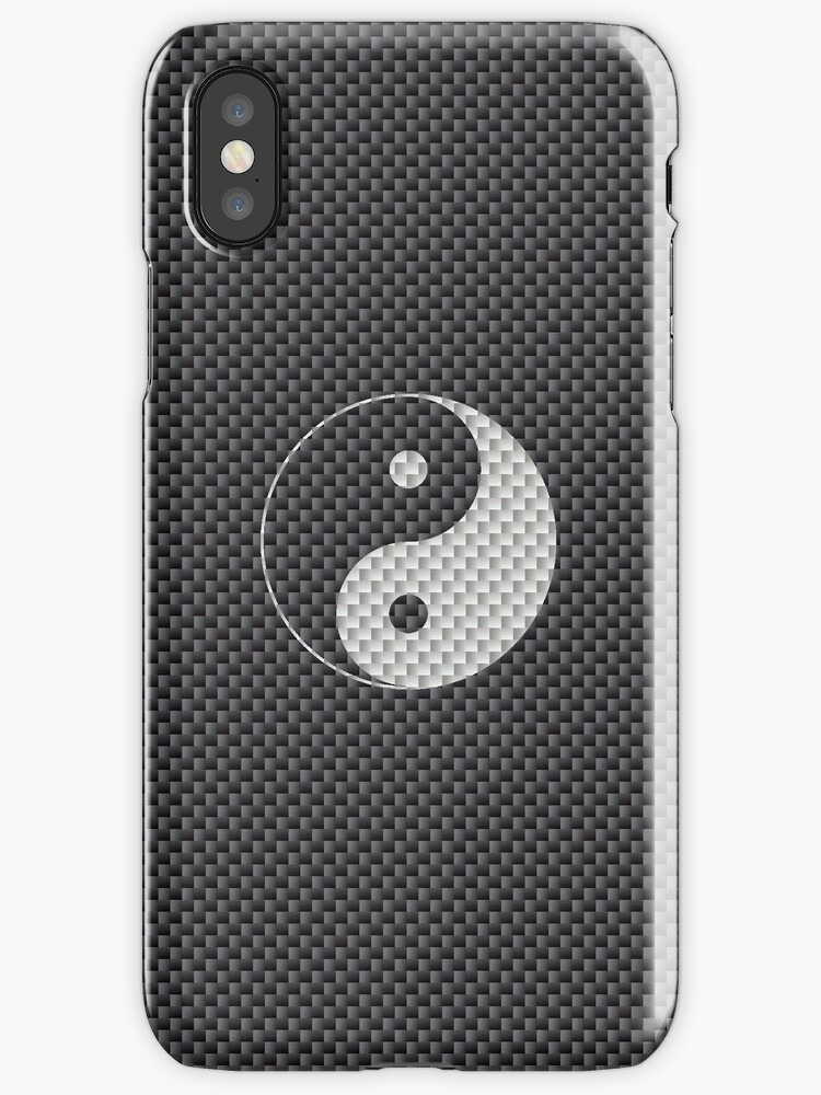 Chinese Yin And Yang Symbol In Black And White Carbon Fiber Pattern