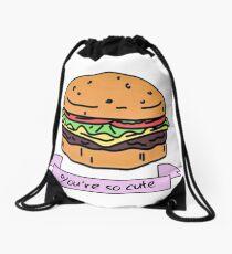 you're so cute // burger Drawstring Bag