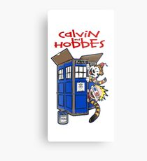 calvin and hobbes police box  Metal Print