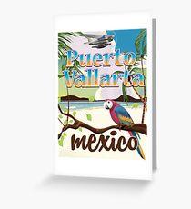 Puerto Vallarta Mexico vintage travel poster Greeting Card
