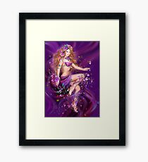 Fantasy Woman and purple flowers Framed Print
