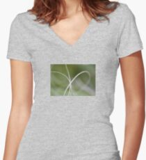 Macro of A Green Palm Tree Leaf Women's Fitted V-Neck T-Shirt