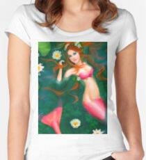 beautiful Fantasy mermaid with lilies Women's Fitted Scoop T-Shirt