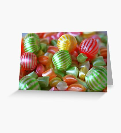 Multi-Colored Striped Candy Greeting Card