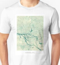 Hamburg Map Blue Vintage Unisex T-Shirt