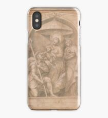 Italian School 16th century Virgin and Child, Enthroned, with SS. Christopher and Agnes iPhone Case/Skin