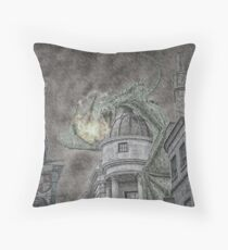 Hungarian Horntail in Green Throw Pillow