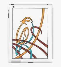 Sparrow in Blue (Ribbons) iPad Case/Skin