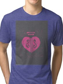 HeartStrings -Pink on grey Tri-blend T-Shirt