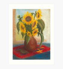 Sonnenblumen in einer Vase Kunstdruck
