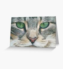 Emerald Eyes Scratch Art Greeting Card