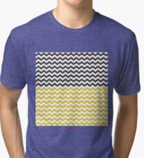 honeybee chevron, yellow/black/dark gray/white Tri-blend T-Shirt