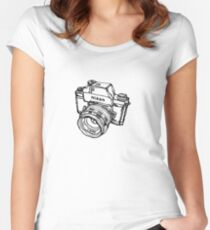 Nikon F Classic Film Camera Illustration Women's Fitted Scoop T-Shirt