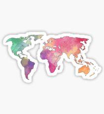 Pegatina continentes arco iris acuarela