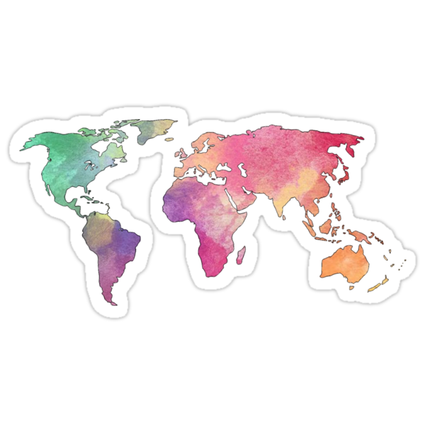 Quot Rainbow Watercolor Continents Quot Stickers By Gloria Lam