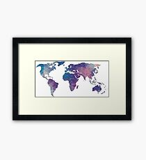 geometric watercolor continent Framed Print
