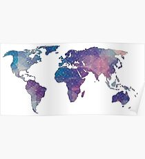 geometric watercolor continent Poster