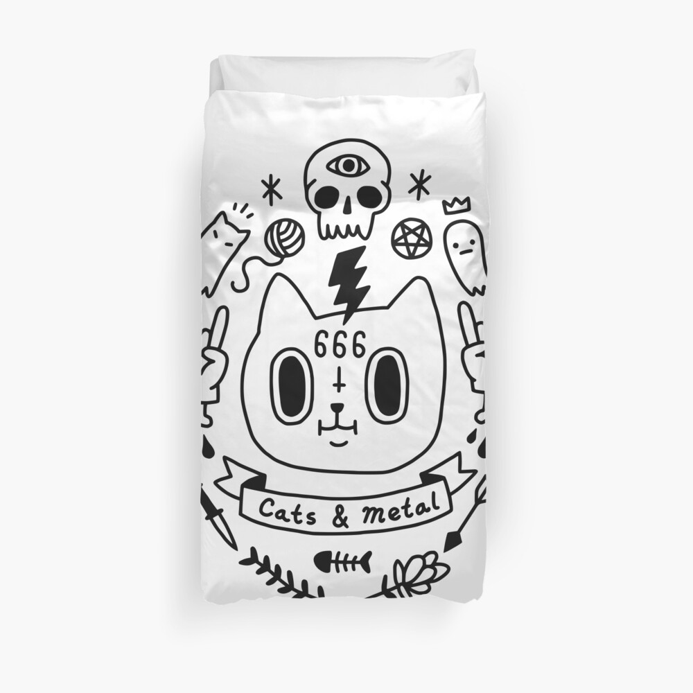 Cats & Metal Duvet Cover