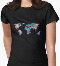 holographic continents Womens Fitted T-Shirt