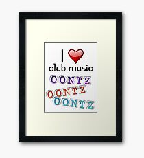 I heart club music Framed Print