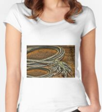 ▂ ▃ ▅ ▆ █ OLD ROPE PICTURE/CARD █ ▆ ▅ ▃ Women's Fitted Scoop T-Shirt