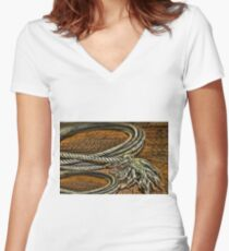 ▂ ▃ ▅ ▆ █ OLD ROPE PICTURE/CARD █ ▆ ▅ ▃ Women's Fitted V-Neck T-Shirt