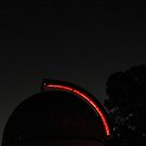 MBO Dome with stars and trees by Mount Burnett Observatory