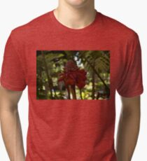 Glossy Jewel in the Jungle - Red Torch Ginger Lily Tri-blend T-Shirt