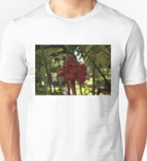 Glossy Jewel in the Jungle - Red Torch Ginger Lily Unisex T-Shirt