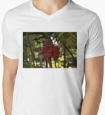 Glossy Jewel in the Jungle - Red Torch Ginger Lily Men's V-Neck T-Shirt