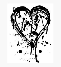 Black ink heart Photographic Print