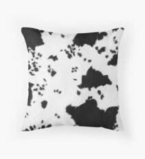 Cowhide Black and white 2 Throw Pillow