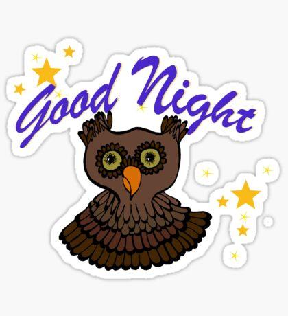 Owl says Good Night Sticker