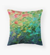 MERMAID SCALES 4 Rainbow Colorful Ombre Ocean Waves Abstract Acrylic Impasto Painting Teal  GreenArt Throw Pillow