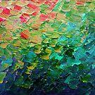 MEERJUNGFRAU WAAGEN 4 Regenbogen bunte Ombre Ocean Waves abstrakte Acryl Impasto Malerei Teal GreenArt von EbiEmporium