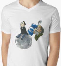 Moon and Satellite MorMor Men's V-Neck T-Shirt