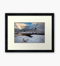 Early morning light at Lagangarbh Hut Glencoe Scottish Highlands Framed Print