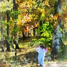 Little Girl Walking in Autumn Woods by Susan Savad