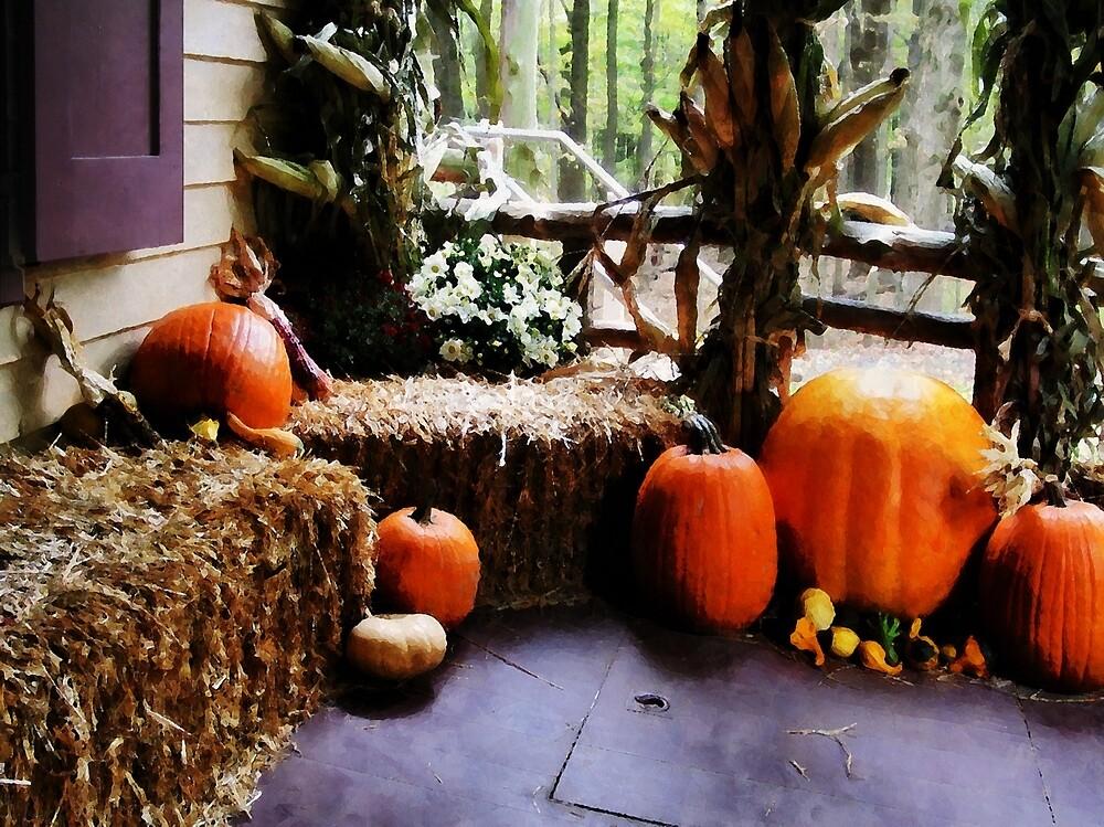 Pumpkins on Porch by Susan Savad