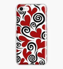 Red Hearts and Swirls iPhone Case/Skin