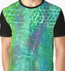 Textured Green and Pink Graphic T-Shirt