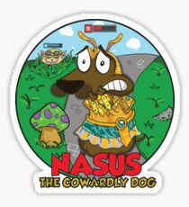 Nasus the cowardly dog! Sticker
