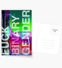 Fuck Binary Gender -- Translucent Text Postcards