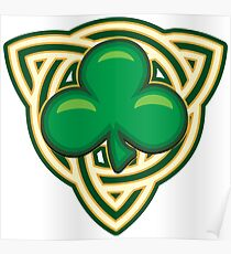 Saint Patricks Day Shamrock Emblem  Poster