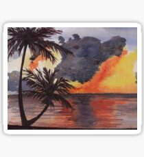 Tropical Sunset, Tranquil Beach Sticker
