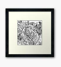Black henna flowers illustration modern floral  Framed Print